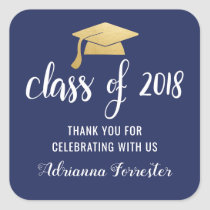 Class Of 2018 Faux Gold Foil Graduate Hat Square Sticker