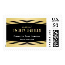 Class of 2018, Gold and Black Deco Chevrons Postage
