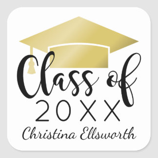 Class of 2018 | Gold Cap Graduation Square Sticker
