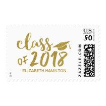 Class of 2018 Gold Glitter Script Graduation Postage