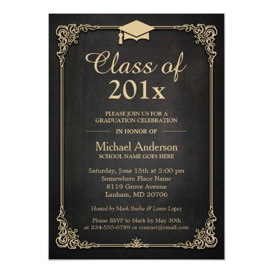 class of 2018 grad cap elegant classy graduation invitation zazzle com