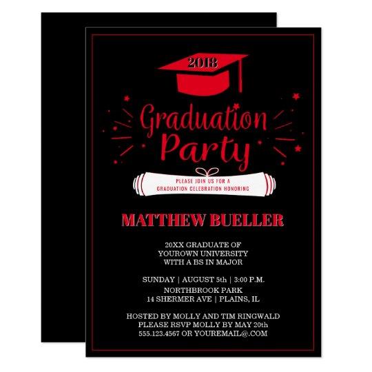 class of 2018 grad cap red black graduation party invitation