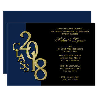 Class of 2018 Grad Gold with Color Option Card