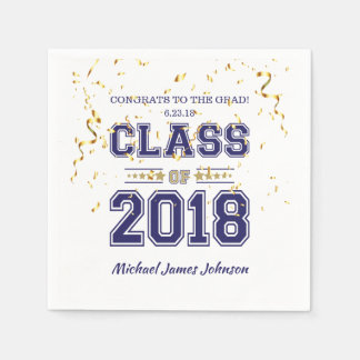 Class of 2018 Grad Party  Blue and Gold Paper Napkin