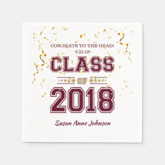 Class of 2018 Grad Party  Burgundy and Gold Paper Napkin