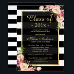 """Class of 2018 Graduation Classy Floral Stripes Card<br><div class=""""desc"""">Celebrate your graduation with this &quot;Class of 2018 Graduation Classy Floral Stripes Invitation&quot; template. It&#39;s easy to customize to be uniquely yours and send to your guests in style! (1) For further customization, please click the &quot;customize further&quot; link and use our design tool to modify this template. (2) If you...</div>"""