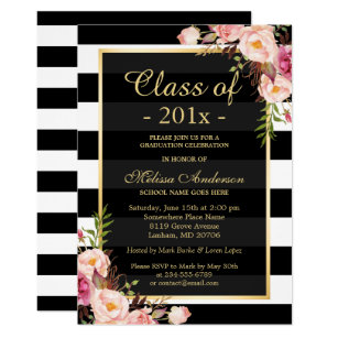 Black and white graduation invitations announcements zazzle class of 2018 graduation classy floral stripes card filmwisefo Choice Image