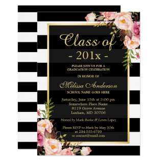 Class Of 2018 Graduation Classy Floral Stripes Card at Zazzle