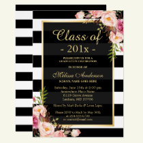 Class of 2018 Graduation Classy Floral Stripes Invitation