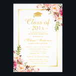 """Class of 2018 Graduation Elegant Chic Floral Gold Card<br><div class=""""desc"""">Celebrate your graduation with this &quot;Elegant Chic Floral Gold - Class of 2018 Graduation Party Invitation&quot; template. It&#39;s easy to customize to be uniquely yours and send to your guests in style! (1) For further customization, please click the &quot;customize further&quot; link and use our design tool to modify this template....</div>"""