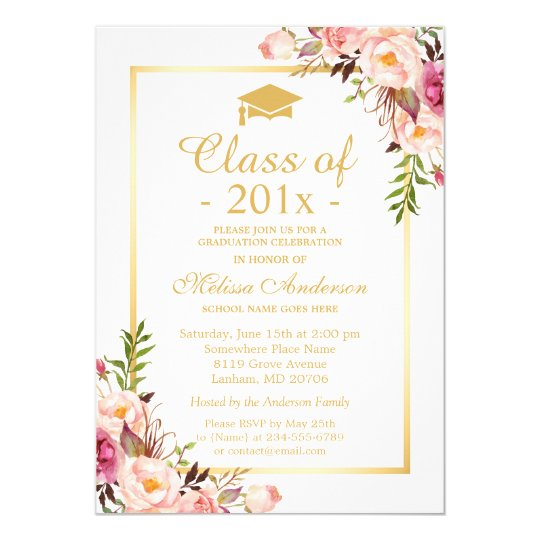 Graduation invitations announcements zazzle class of 2018 graduation elegant chic floral gold card stopboris Choice Image