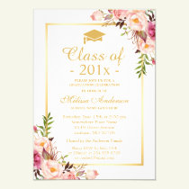 Class of 2018 Graduation Elegant Chic Floral Gold Invitation