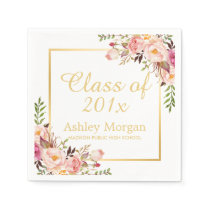 Class of 2018 Graduation Elegant Gold Chic Floral Napkin