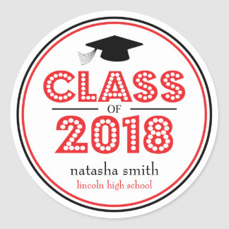 Class Of 2018 Graduation Favor (Red / Black) Classic Round Sticker