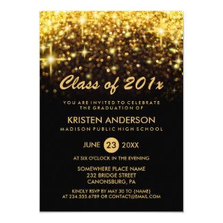 Class of 2018 Graduation Gold Glitter Glam Sparkle Card