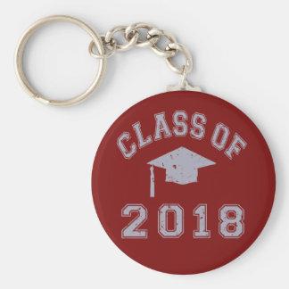 Class Of 2018 Graduation -  Grey Basic Round Button Keychain