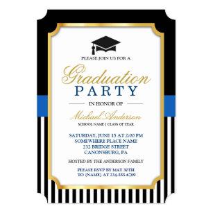 Ticket graduation invitations zazzle class of 2018 graduation party gold ticket stripes invitation filmwisefo