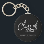"Class of 2018 Graduation Party Keychain<br><div class=""desc"">A modern and trendy design for any graduate. Add 2018,  2019 or any year to personalize this elegant and modern script. This can be used for any graduate - high school,  college,  grad school,  med school or even trade school.</div>"