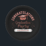 "Class of 2018 Graduation Party Rose Gold Grad Cap Paper Plate<br><div class=""desc"">Trendy black and rose gold glitter look, personalized graduation party paper plates- Reads Congratulations! in curved, bold rose gold color letters at the top. Faux glitter, dusty pink rose gold graduation cap below with custom class year in white with shadow effect. Reads &#39;Graduation Party&#39; in faux glitter, handwritten look, pink...</div>"
