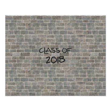 """Art Themed Class of 2018 Gray Brick """"Write On My Wall"""" Poster"""
