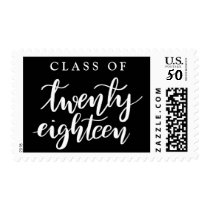 Class Of 2018 Handwritten Graduate Elegant Black Postage