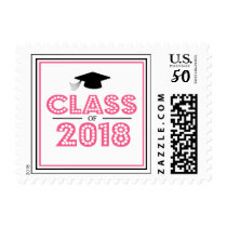 Class Of 2018 In Lights (Bubble Gum Pink) Postage