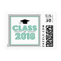 Class Of 2018 In Lights (Dark Green / Black) Postage