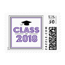 Class Of 2018 In Lights (Eggplant / Black) Postage
