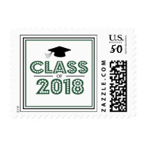 Class Of 2018 In Lights (Emerald Green / Black) Postage
