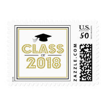 Class Of 2018 In Lights (Gold / Black) Postage
