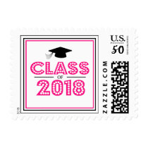 Class Of 2018 In Lights (Hot Pink / Black) Postage