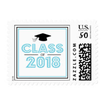 Class Of 2018 In Lights (Light Blue / Black) Postage