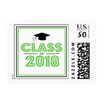 Class Of 2018 In Lights (Lime Green / Black) Postage