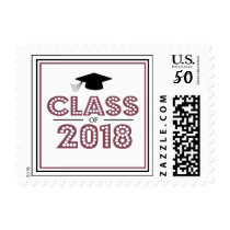 Class Of 2018 In Lights (Maroon / Black) Postage