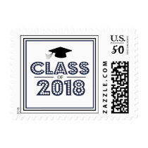 Class Of 2018 In Lights (Midnight Blue / Black) Postage