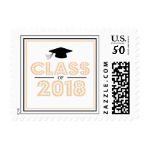 Class Of 2018 In Lights (Peach) Postage