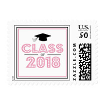 Class Of 2018 In Lights (Pink / Black) Postage