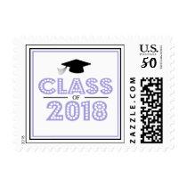 Class Of 2018 In Lights (Purple / Black) Postage