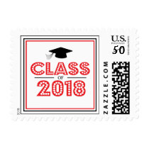 Class Of 2018 In Lights (Red / Black) Postage