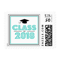 Class Of 2018 In Lights (Teal) Postage