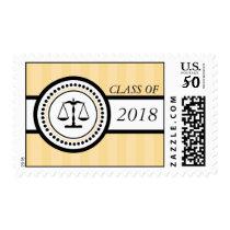 Class Of 2018 Law School Graduation Stripes (Gold) Postage