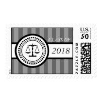 Class Of 2018 Law School Graduation Stripes (Gray) Postage