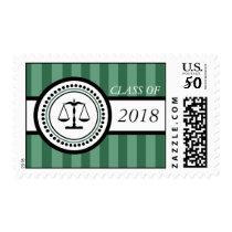 Class Of 2018 Law School Graduation Stripes Green Postage