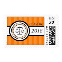 Class Of 2018 Law School Graduation Stripes Orange Postage