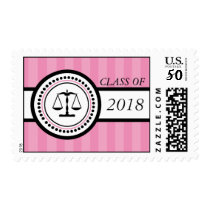 Class Of 2018 Law School Graduation Stripes (Pink) Postage