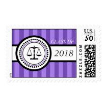 Class Of 2018 Law School Graduation Stripes Purple Postage