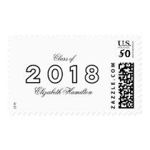 Class of 2018 Modern Chic Black & White Graduation Postage