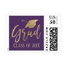 Class of 2018 Modern Purple & Gold Graduation Postage