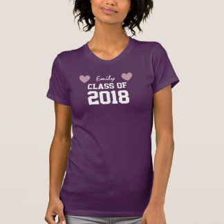 Class Of 2018 or Any Year New Grad Tee with Hearts