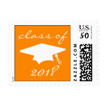 Class Of 2018 (Orange Graduation Cap) Postage